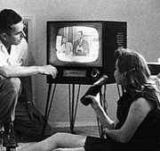 50s family TV closeup